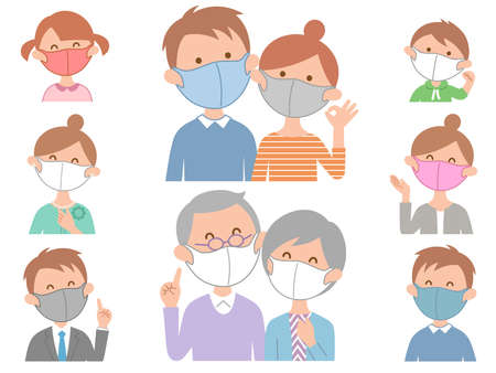 Two sets of families wearing masks Illustration