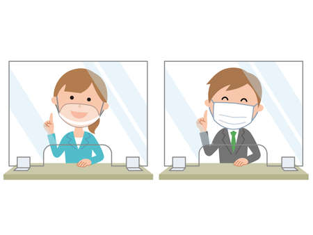 Reception Installation of acrylic plate to prevent viral infection Female employees wear transparent masks