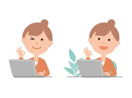 Woman using a computer Векторная Иллюстрация