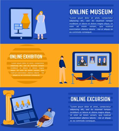 A set of web design elements for online Museum events, excursions, and exhibitions.