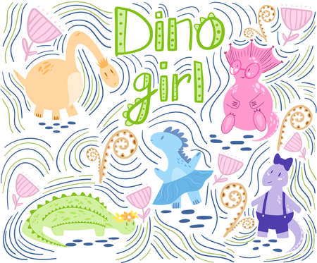 Dino girls with abstract background, fern and flowers in a flat style. Suitable for childrens books, textiles, t-shirts, covers, banners.