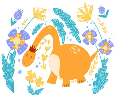 Illustration of a dinosaur Princess with flowers on a white background. For the design of books, notebooks, covers and use in textiles.  イラスト・ベクター素材