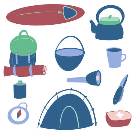 A set of items for Hiking and outdoor activities. Accessories for outdoor recreation. Sleeping bag, tent, lantern, backpack, bowler hat, compass. hand draw elements.