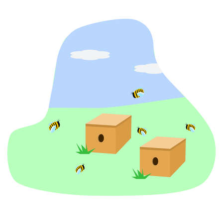 Hives on the field. Apiary with bees. Stock Illustratie