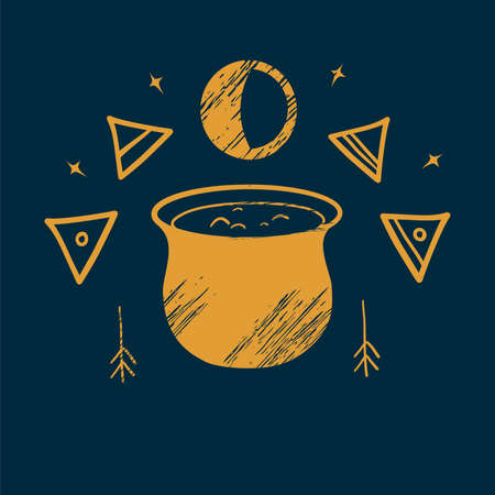 The witchs cauldron and witch signs. Illustration of magic. Creating a potion. Occultism. Performing witchcraft. Yellow illustration of magic, witchcraft, another world on a blue background. Illusztráció