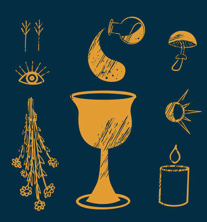 The sacred holy grail, occult hands and all-seeing eye illustration