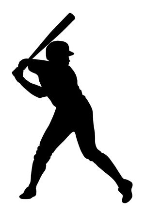 Black silhouette of baseball player ready for strike Stock Photo