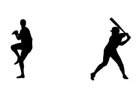 batter: Silhouette of baseball thrower and batter players