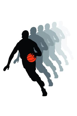 dribbling: Black dribbling basketball player silhouette with ball