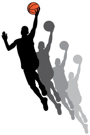 human entertainment: Black basketball player silhouette with color ball