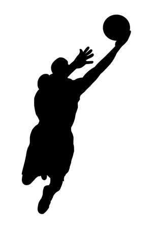 action shot: Black jumping basketball player silhouette with ball