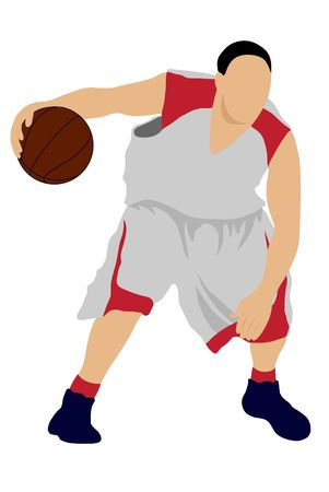 dribbling: Color dribbling basketball player silhouette with ball  Stock Photo