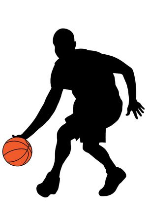 exercise silhouette: Black basketball player silhouette with color ball