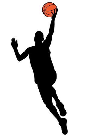 panier basketball: Silhouette joueur de basketball noir avec boule de couleur