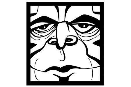 clipart wrinkles: Smile male face illustration on white background