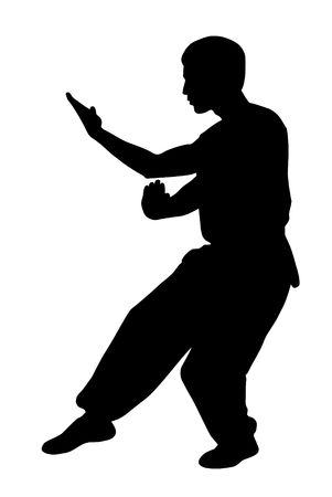 kung: Black silhouette of  karate man prepared for fight