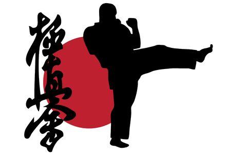kyokushinkai: Black silhouette of karate man prepared for fight Stock Photo