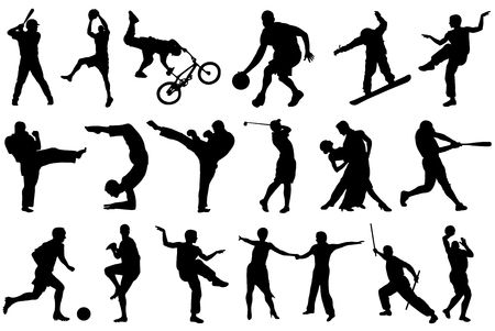 balck: Different balck sport silhouettes on white background  Stock Photo