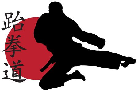Black silhouette of karate man prepared for fight Stock Photo