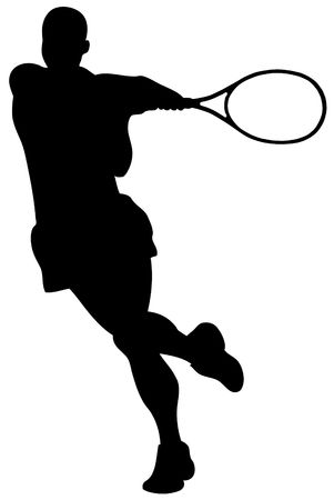 Black tennis player silhouette on white background photo