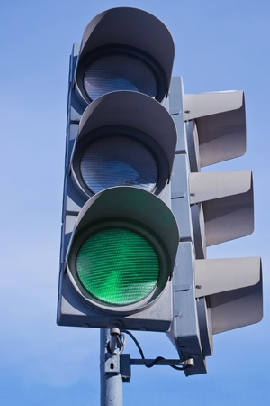 traffic light showing green light photo