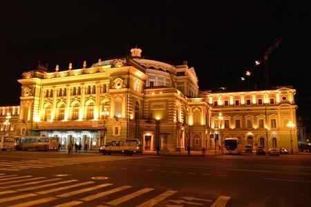 fussy: Mariinsky Theatre, St Petersburg, at night Editorial