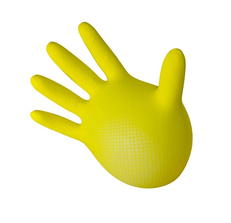 work glove: Inflated yellow glove. isolated