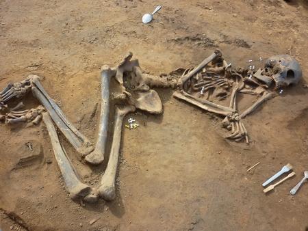 Skeleton of ancient man found during excavations in the flood zone Boguchanskaya hydro. Age 800 years