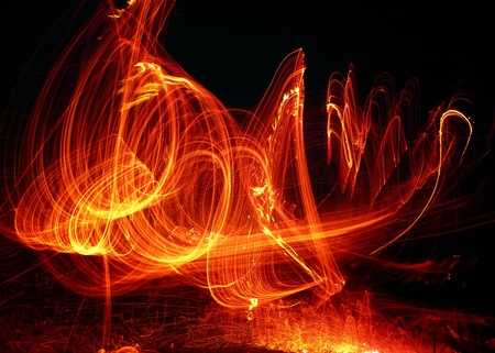 a huge column of flames on a black background Stock Photo - 11530121