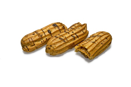 three buns eclairs. isolated photo