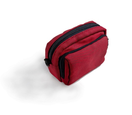 Bright red bag for the camera. isolated Stock Photo - 11529892