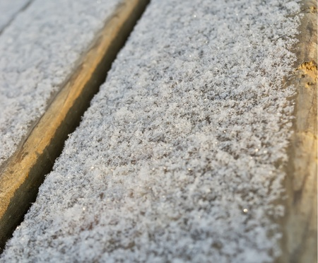 snow on the wood surface. background photo