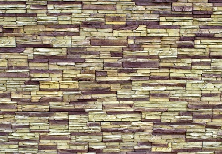 feature wall: texture-colored pebbles. masonry