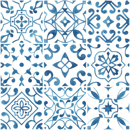 Watercolor Blue Tiles Banco de Imagens