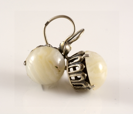 earrings: ancient earrings with white stone