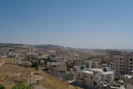 jewish home: Modern Palestinian area of the city. View from the mountain Stock Photo