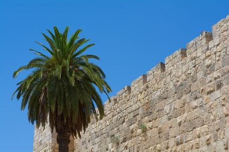 impregnable: impregnable view of the old city wall of Jerusalem