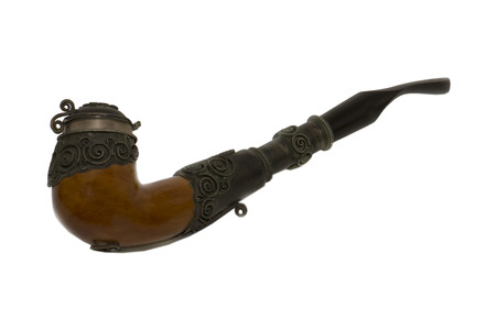 smoking pipe: antique smoking pipe in excellent condition custom made Stock Photo