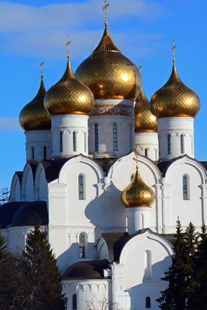 russian orthodox: vintage Russian Orthodox Cathedral in Sunny day