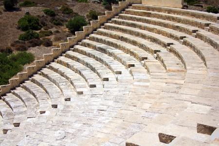 the ancient amphitheatre built of blocks of sandstone Stock Photo