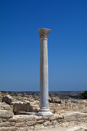 ancient column preserved on the site of the ancient city of Kourion Stock Photo