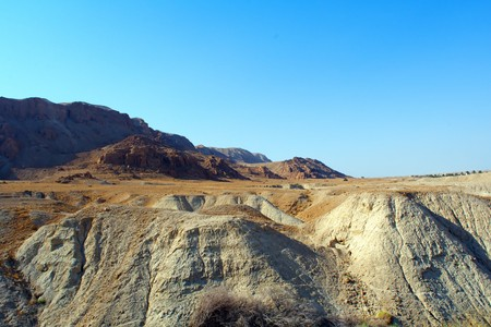 sinai desert: sand, mountains and bright blue sky of the Sinai desert Stock Photo