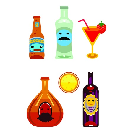 cognac: Alcohol icons set. Contains beer, rum, cognac, vine, coctail, lemon