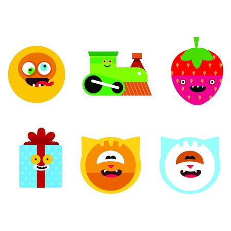 Characters icon set. Contains smile, train, strawberry, gift box, cat Vector