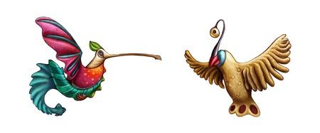 texturized: Two fantasy birds on white background. Texturized illustration