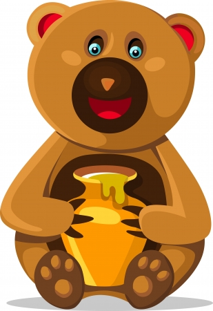 Smiling bear with honey pod isolated on white background. Childrens illustration Vector