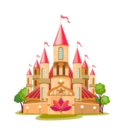 hadas caricatura: Cartoon castillo de cuento de hadas icono aislado sobre fondo blanco