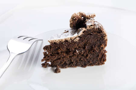 flourless chocolate cake: Slice of flourless chocolate cake