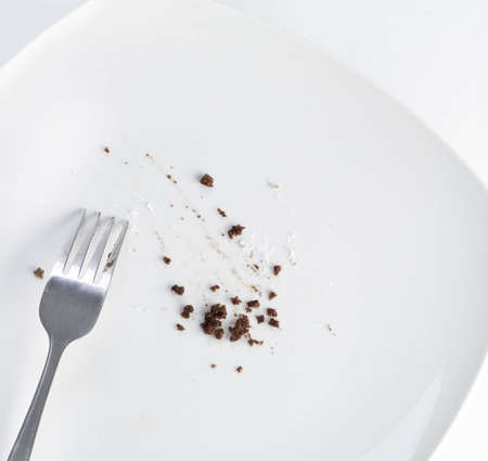 leftover: Empty plate with leftover cake crumbs