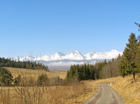 dirt road recreation: Photo of the first spring days and look over the valley to the mountains High Tatras Slovakia V nature is waking life and the mountains are still snow